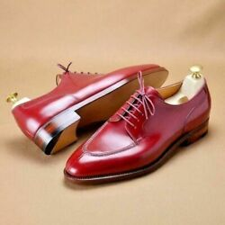 NEW Red Maroon HANDMADE Guanine Leather Shoes Casual Formal For Men WELTED SOLE $149.99