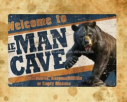 man cave bear metal tin sign rustic home decor $15.79