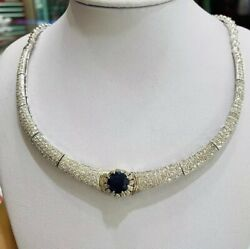 14k Solid White Gold Pendant Necklace W Natural Sapphire& Diamond31.20GM)5.79CT