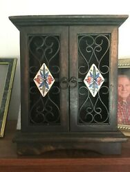 Stand Up Jewelry Box Dark Wood 13x10x5 inches shelves organizer floral