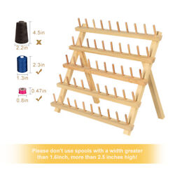 50 Spools Thread Rack Spools Holder Wooden Sewing Embroidery Stand Storage