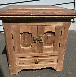 Antique Chamber Pot Wood Chair Commode Toilet Box Potty wdrawer Metal Handles