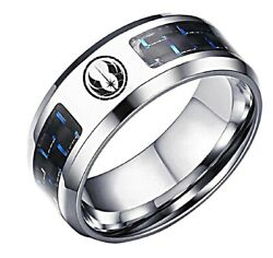 Star Wars Jedi Order Logo with Blue Carbon Fiber Stainless Steel Ring $14.99