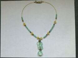 Aquamarine & Yellow Quartz Faceted Beaded Necklace & .925 Sterling Silver
