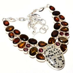 Dalmation Jasper Smokey Quartz 925 Sterling Silver Necklace 16-18