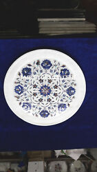 15'' White Marble Serving Plate Inlay Art Lapis Lazuli Collectible Decor H4077B