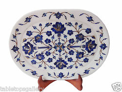 Makrana White Marble Serving Tray Plate Lapis Mosaic Floral Inlay Art Deco H1322