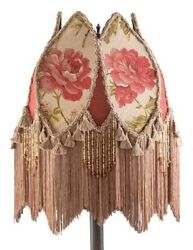 Victorian Trading Co Silk amp; Cotton Cottage Rose Fringed Lamp Shade Burgundy Tan $143.96