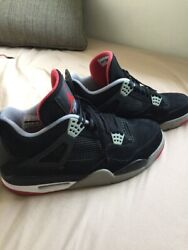 Nike Air Jordan IV 4 Bred Black Red 2012 Size 12 100% Authentic