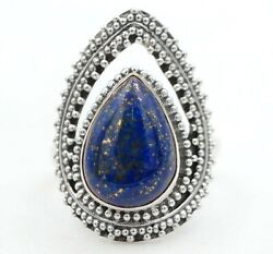 Nice Design Gold In Lapis Lazuli 925 Sterling Silver Ring Jewelry Sz 7 C26-6