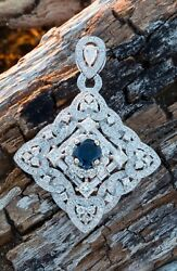 7.44ct E VS 18k Diamond & Sapphire Pendent 100% natural no treatment