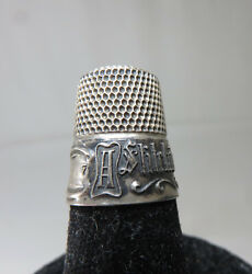 RARE! ANTIQUE STERLING SILVER THIMBLE W MOTTO  A STITCH IN TIME SAVES NINE