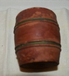 Antique Mini Size Red Ware Barrel wGray Faux Staves 2 38