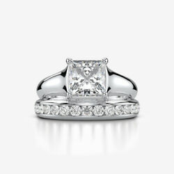 ENGAGEMENT DIAMOND MATCHING BAND SET RING 18 KARAT WHITE GOLD 2.22 CT SIZE 7 8 9