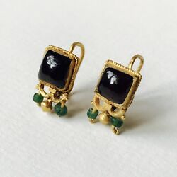Pair Of Matching Roman Gold Earrings With Garnet & Green Glass Beads Jewellery
