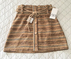 Ladies Zara Striped Rustic A Line Skirt With Belt Size M BNWT LAST ONE GBP 22.99