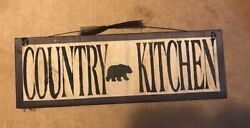 Black BEAR COUNTRY KITCHEN country primitive wall art decor wooden sign 4x12 $8.99