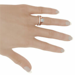 2.22 CARATS SI2 LADY GENUINE MATCHING BAND SET DIAMOND RING 18K ROSE GOLD RED