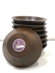Vintage USA Solid American Walnut Wooden Bowls DiD Ware Diversified Industries 8