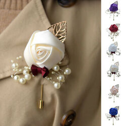 Pearls Groom Artificial Flower Bridal Bouquet Brooch Pin Corsage Boutonniere