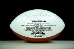 To My Grandson Love You From Grandpa Engraved American Football Gift Birthday
