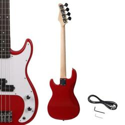 New Red Beginner Practice School Student Band Electric 4 Strings Bass