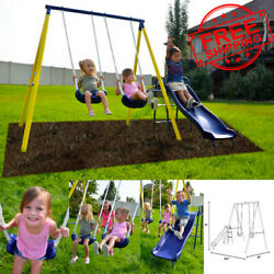 Two Metal Swing and 5FT Heavy Duty Slide Set Playground Outdoor Backyard Playset