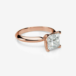 LADIES COLORLESS PRINCESS CUT DIAMOND RING 18 KT ROSE GOLD RED 4 PRONG 3.1 CT