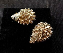 3D gold tone diamante hedgehog woodland animal large stud earrings 18mm x 12mm