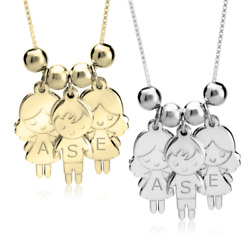 Mothers Necklace Boy amp; Girls Charms Engraving Kids Name Mom Necklace Mom Gift $36.95