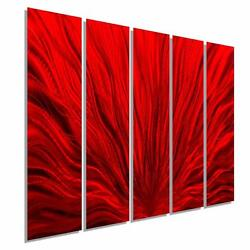 HUGE Red Metal Wall Art Painting for Contemporary Decor Jon Allen Wall Art $850.00