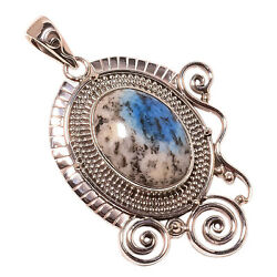 African K2 Azurite Vintage Style 925 Sterling Silver Pendant 2.09