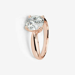 ROUND SPARKLING DIAMOND RING 2 CT 18K ROSE GOLD RED AUTHENTIC SIZE 4.5 5 6 7 8