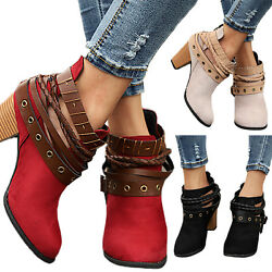 Fashion Women Lady Ankle Boots Ladies Strappy Mid Block Heel Martin Zipper Shoes