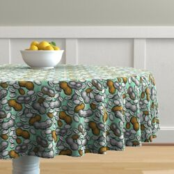 Round Tablecloth Peanuts Vintage Retro Sketch Drawing Baby Shower Cotton Sateen