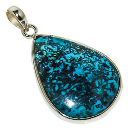 African Azurite 925 Sterling Silver Pendant 1.77