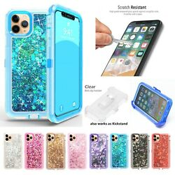 For Apple iPhone 11 11 Pro Max Liquid Glitter Defender Case w Clip Fits Otterbox $10.99
