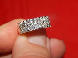14K WHITE GOLD 1.00 TCW DIAMOND BAND RING VERY GOOD QUALITY SI-1 G COLOR SIZE 7