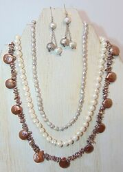 JEWELRY LOT OF 3 FRESHWATER PEARL NECKLACES MIX OF COLORS PRE-OWNED