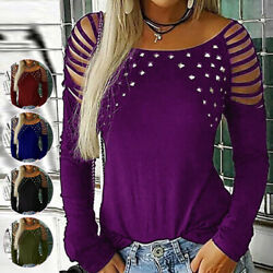 Womens Sexy Cold Shoulder Long Sleeve T-Shirt Tops Casual Studded Pullover Shirt