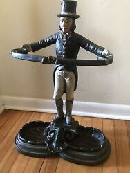 Antique Cast Iron Cane & Umbrella Stand in the Form of a Footman English Butler