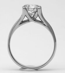 CROWN DIAMOND RING ROUND BRILLIANT WEDDING 18 KT WHITE GOLD COLORLESS 3.1 CARATS