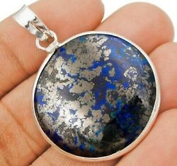 Natural Azurite 925 Solid Sterling Silver Pendant Jewelry C25-9