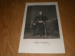 General Benjamin F Butler Portrait Steel Engraving Print Antique 1867