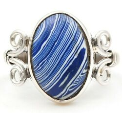 Natural Azurite 925 Solid Sterling Silver Ring Jewelry Sz 5.5 C26-3