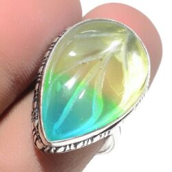 Carved-Bi-Color Tourmaline 925 Stamped Jewelry Ring Size-8.5 2561