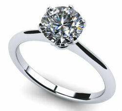 3.05 CARAT DIAMOND RING ROUND BRILLIANT SOLITAIRE 14 KT WHITE GOLD COLORLESS