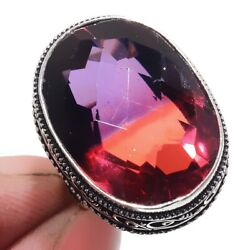 Bi-Color Tourmaline 925 Sterling Silver Jewelry Ring Size-9 6721