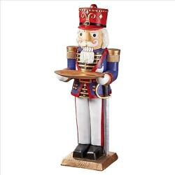 Christmas Stands At Attention Nutcracker Soldier Butler Holiday Pedestal Table