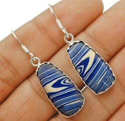 Natural Azurite 925 Solid Sterling Silver Earrings Jewelry C24-5
